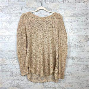 Free People Beige Tan Oversized Knit Sweater